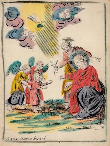 [Maria en Jezus. Kopergravure op perkament, met de hand gekleurd.] BUNEL, Anna Maria