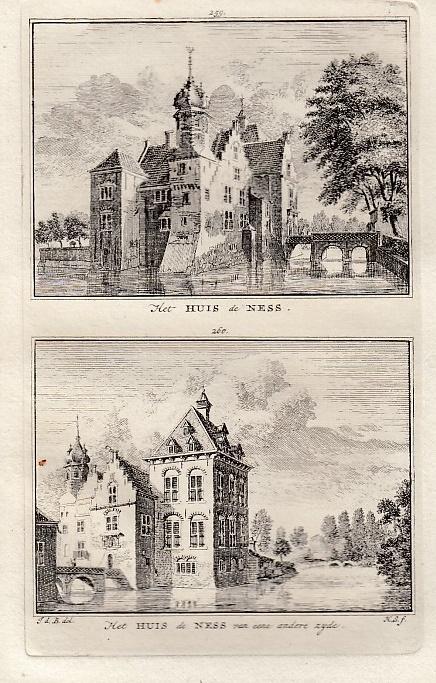 [LINSCHOTEN]. - Het Huis de Ness. - Het Huis de Ness van eene andere zyde. BEIJER, Jan de & Hendrik SPILMAN