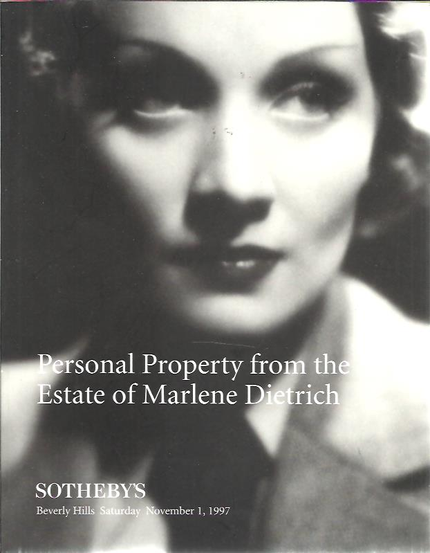 Personal Property from the Estate of Marlene Dietrich. SOTHEBY'S CATALOGUE
