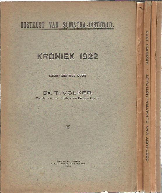 Oostkust van Sumatra Instituut. Kroniek 1916, 1917 + 1922, 1923, 1924, 1925 & 1926. [7 delen]. W.H.M. SCHADEE & T. VOLKER & K.J. LUSINK