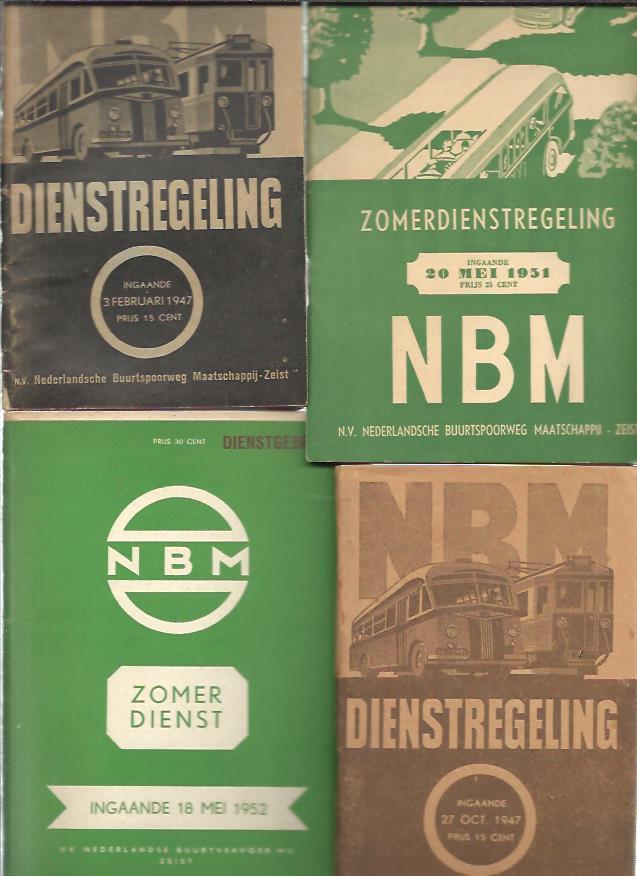 NBM Dienstregeling - ingaande 3 Februari 1947. + ingaande 27 Oct. 1947. + Zomerdienstregeling - ingaande 20 Mei 1951. + Zomerdienst - ingaande 18 Mei 1952. [4 x]. NBM - Nederlandsche Buurtspoorweg Maatschappij-Zeist