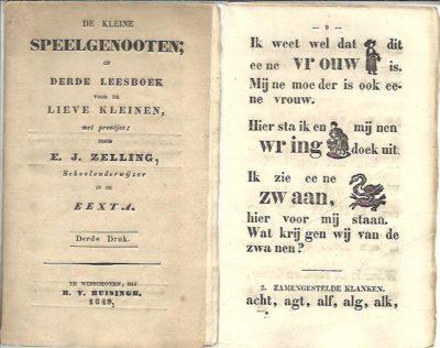 De kleine speelgenooten; of derde leesboek voor de lieve kleinen, met prentjes; door E.J. Zelling, Schoolonderwijzer in de Eexta. Derde druk. ZELLING, E.J.