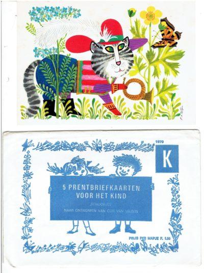 5 Prentbriefkaarten voor het kind ''Sprookjes'' naar ontwerpen van Cor van Velsen [+ rebus-kaart]. VELSEN, Cor van