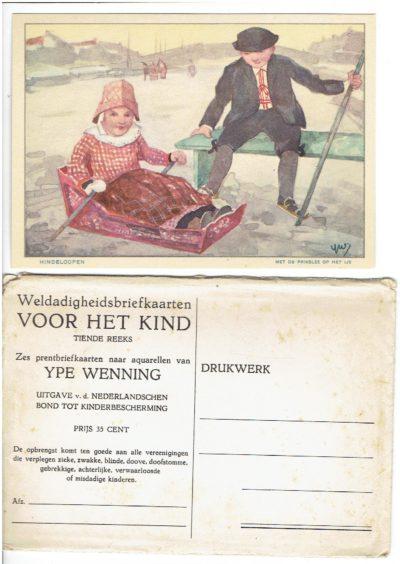 Weldadigheidsbriefkaarten voor het Kind - Tiende Reeks - Zes prentbriefkaarten naar aquarellen van Ype Wenning. WENNING, Ype