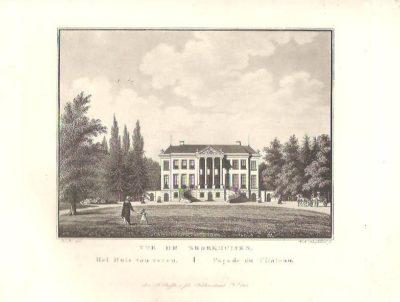 Vue de Broekhuisen - Het Huis van voren / Façade du Chateau. Originele aquatint. LEERSUM - BROEKHUIZEN