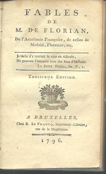 Fables de M. de Florian. Troisième édition. FLORIAN
