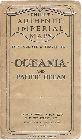 Philips authentic maps for tourists & travellers. Oceania and Pacific Ocean. Scale 1:34,600,000 (546 Miles - 1 Inch). OCEANIA and PACIFIC OCEAN