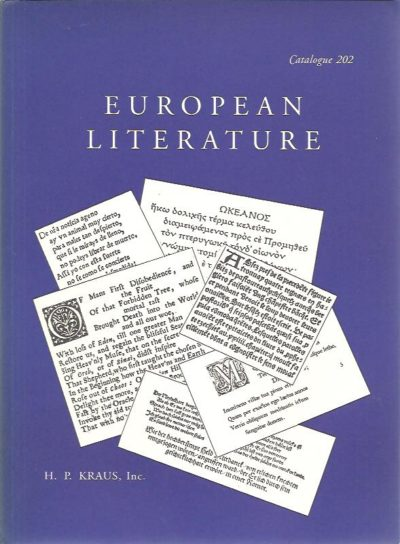 European Literature. KRAUS - CATALOGUE 202