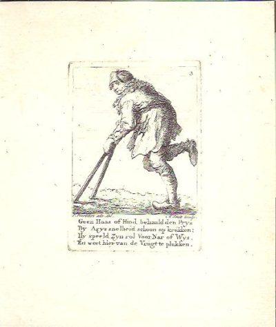 Een bedelaar op klompen met krukken. BARBIERS, P.  & A. SMIT