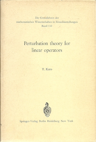 Perturbation theory for linear operators. KATO, T.