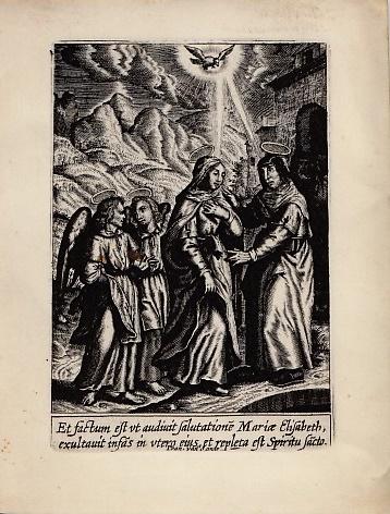 [Maria bezoekt Elisabeth. Kopergravure op perkament.] SANDE, Ioan van [Jan Baptist van den Sande.]