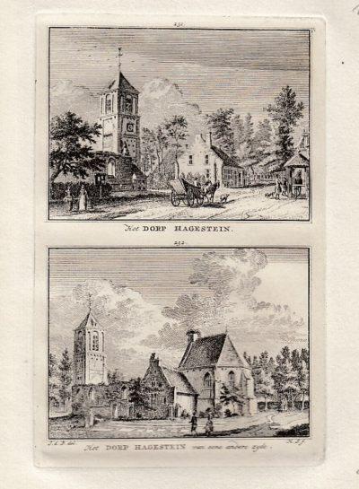 [HAGESTEIN]. - Het Dorp Hagestein. - Het Dorp Hagestein van eene andere zyde. BEIJER, Jan de & Hendrik SPILMAN
