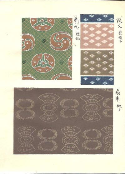 Japanese woodblock print book. A collection of textile design. Part from the 'Encyclopedia of Dyeing and Weaving, Dyeing Section'. JAPANESE WOODBLOCK PRINT BOOK