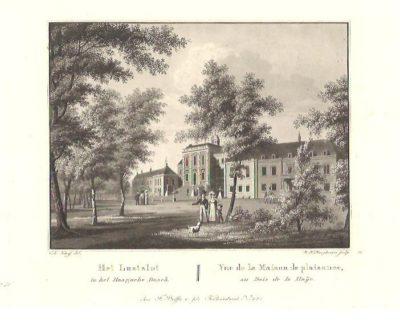 Het Lustslot in het Haagsche Bosch - Vue de la Maison de plaisance, au Bois de la Haije. DEN HAAG