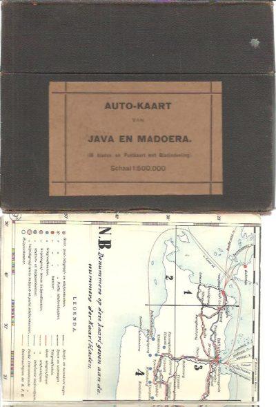 Auto-kaart van Java en Madoera. (18 bladen en Postkaart met Bladindeeling). Schaal 1:500.000. [MAPS]