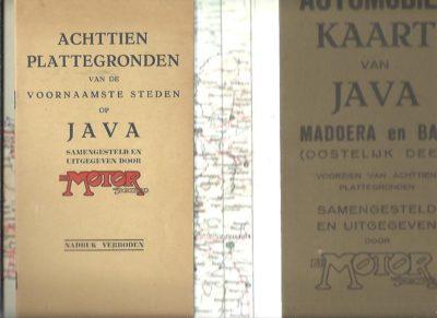 Automobielkaart van Java - Madoera en Bali schaal 1:1.000.000 (Oostelijk deel) + (Westelijk deel) - Voorzien van achttien plattegronden. Samengesteld en uitgegeven door De Motor Sportblad. [MAPS]