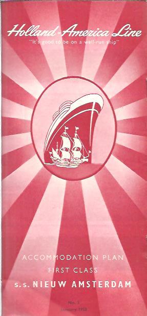 Accomodation Plan First Class S.S. Nieuw Amsterdam. No.3 January 1958. HOLLAND AMERICA LINE