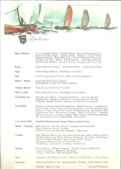 [MENU] - Tradional [sic] race of 'Tjalken' in Friesland - Luncheon. Friday, May 19, 1967 - S.S. Rotterdam. HOLLAND AMERICA LINE