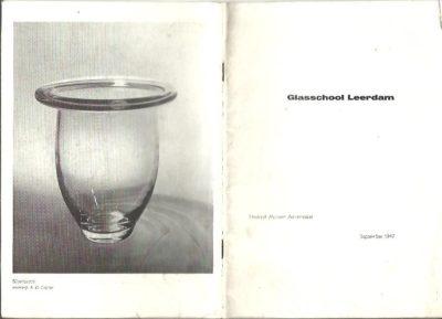 Glasschool Leerdam - Stedelijk Museum Amsterdam - September 1947. [CATALOGUE] - COPIER, A.D. [Inleiding]