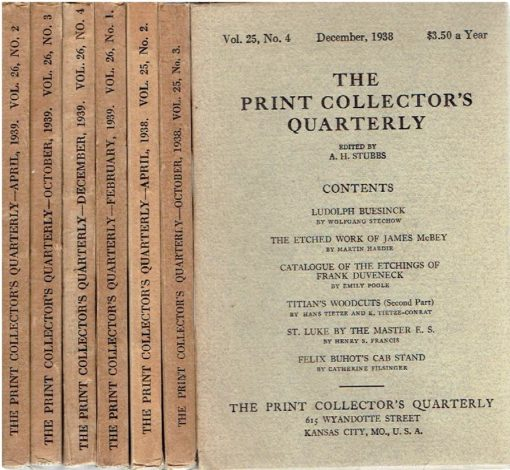 the print collector's quarterly - Vol. 25, No. 2 + 3 + 4 - Vol. 26, No. 1 + 2 + 3 + 4 [together 7 volumes]. STUBBS, A.H. [Ed.]