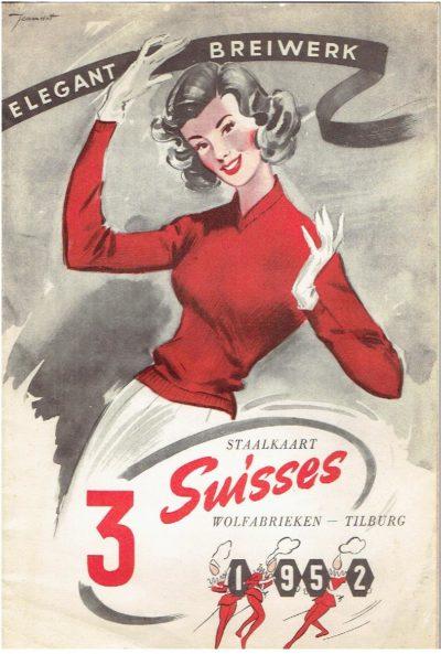 Elegant Breiwerk - Staalkaart 3 Suisses - Wolfabrieken - Tilburg. 3 SUISSES