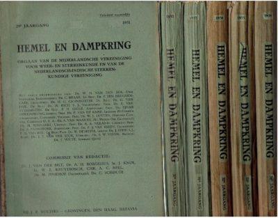 Hemel en Dampkring - Orgaan van de Nederlandsche Vereeniging voor Weer- en Sterrekunde en van de Nederlandsch-Indische Sterrenkundige Vereeniging. - 29e Jaargang 1931 - 34e Jaargang 1936 [6 Jaargangen: 1931, 1932, 1933, 1934, 1935 & 1936]. BORGESIUS, A.H., J. KNOL, A.C. de KOCK, M. PINKHOF, C. SCHOUTE e.a.